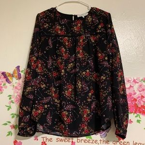 💙ROSE+OLIVE BLACK FLORAL LONG SLEEVE BLOUSE NWT